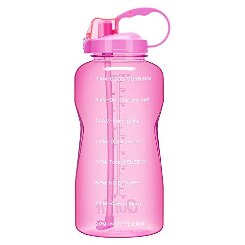 QuiFit Gallon Water Bottle with Straw and Motivational Time Marker BPA Free Reusable Large Capacity Sport Water Jug with Handle Ensure Your Daily Water Intake(Pink 64oz) (Telling Time To The Half Hour Activities)