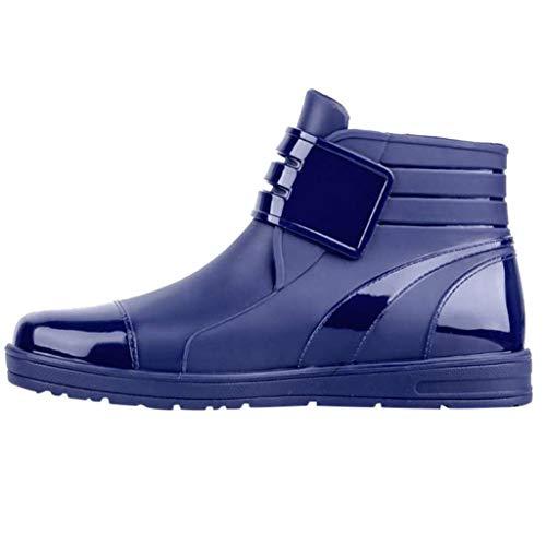 - ONLY TOP Men's Chelsea Rain Boots Waterproof Slip on Shoes Nonslip Short Ankel Boots Rubber Rain Footwear Blue