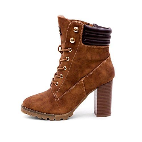 Marimo Damen Schnür Stiefel Stiefeletten Worker Boots mit Blockabsatz Camel Boston