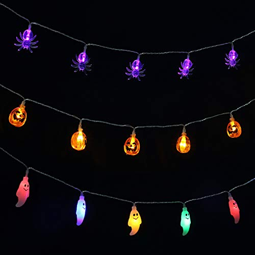 Hsctek Halloween String Light, Pack of Jack OLanterns Light, Ghost Light & Spider Light, 3 Sets 15.1ft with 30 LED Battery Operated Light
