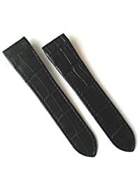 23mm Black Alligator Grain Leather Strap Watch Band Fits CARTIER SANTOS 100 XL