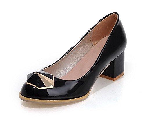 AllhqFashion Damen Weiches Material Ziehen auf Rund Zehe Mittler Absatz Rein Pumps Schuhe Schwarz
