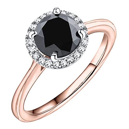 Prism Jewel 2.05Ct Halo Black Diamond & Natural Diamond Engagement Ring, 14k Yellow Gold, Size 6 -