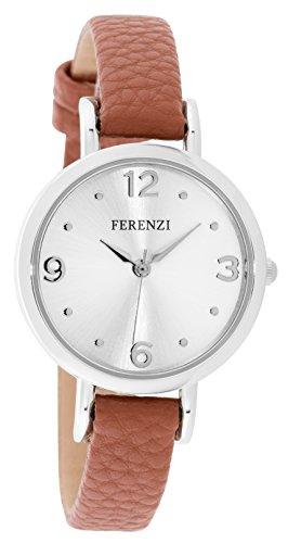 Ferenzi Women's | Elegant Light Brown and Silver PU Leather Watch | FZ17308
