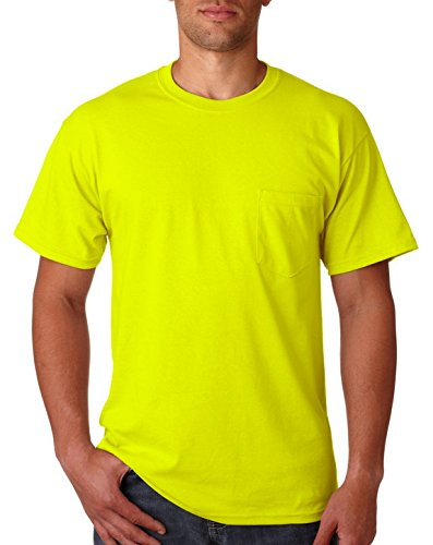 Fashion Gildan G2300 100% Cotton Pocket Tee Safety Green 5X-Large