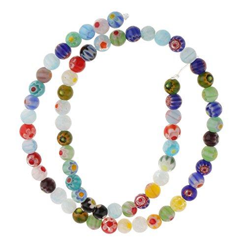 (MonkeyJack Wholesale Mix Colors Millefiori Flower Lampwork Glass Round Beads DIY Choose 4mm 6mm 8mm 10mm 12mm - Multicolor, 6 mm)