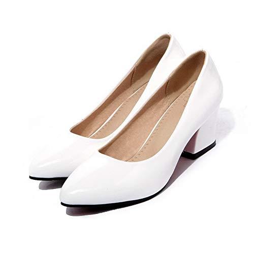 Bianco Flats Donna Punta AllhqFashion di Maiale Pelle Chiusa Medio FBUIDD008338 Tacco Ballet wgPfRqw