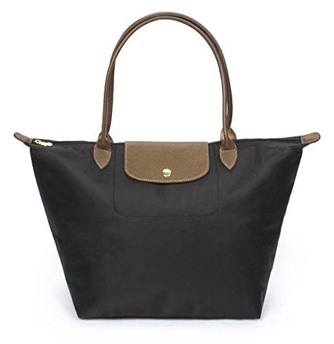 Korvara Women's Tote Bag, Premium Nylon and Vegan Saffiano Leather Shoulder Handbag, Black, Large