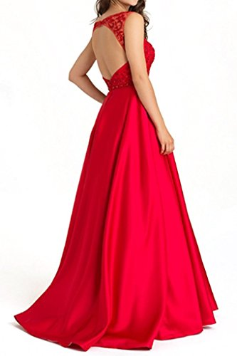 Satin Blau linei Abendkleider Kleider mia Braut Bodenlang A Jugendweihe Royal La Kleider Formal Langes Brautmutterkleider 6xvUtgwn