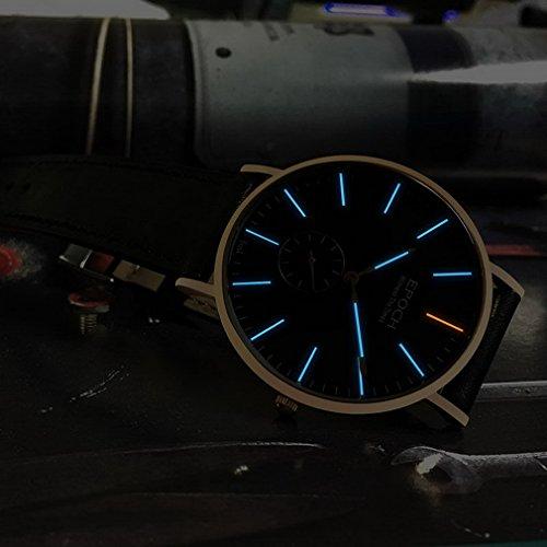 EPOCH 6025G waterproof 50m tritium blue luminous ultrathin case leather strap business men quartz wrist watch - Rosegold by EPOCH (Image #4)