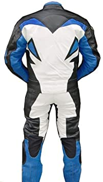 Perrini 2pc Motorcycle Racing Riding Leather Track Suit w//Armor New Blue//White//Black