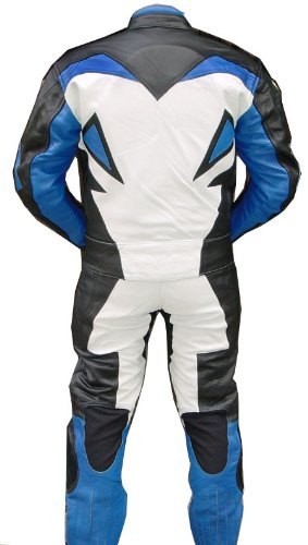 Perrini 2pc Motorcycle Racing Riding Leather Track Suit w/ Armor New Blue/White/Black by PERRINI (Image #1)