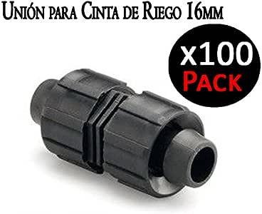 Suinga. Union para Cinta DE RIEGO por Goteo 16mm. Manguito para conectar Dos Cintas de riego. Pack 100 Unidades.: Amazon.es: Jardín