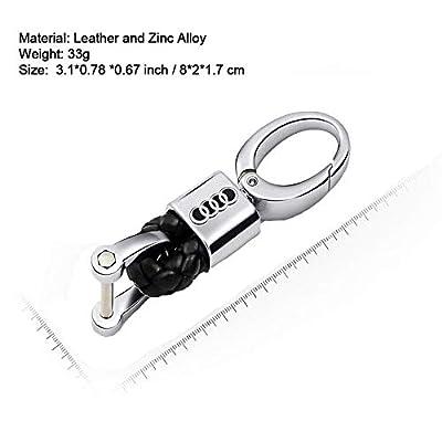 VILLSION 2Pack Genuine Leather Car Logo Keychain Key Chain with Zinc Ally Buckle Keyring: Automotive