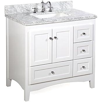 Abbey 36-inch White Bathroom Vanity (Carrara/White ...