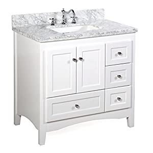 36 White Bathroom Vanity. Abbey 36 Inch White Bathroom Vanity Carrarawhite Includes Soft Close Drawers And Doors And Rectangular Ceramic Sink