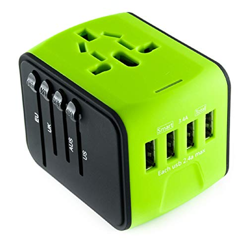 International Travel Adapter Universal Power Adapters Plug Converter Worldwide All in One with 4 USB Ports and AC Socket Perfect European Adaptor for US EU UK AUS Asia Europe Italy American (Green) ()