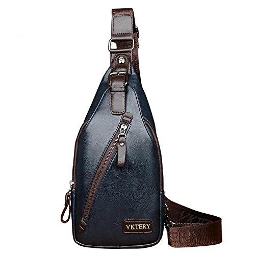penao Pecho hombre mensajero del bolso una bandolera de viaje ocio al aire libre hombre Cruz oblicua del bolso Blue