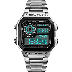 PASOY Men's Digital Multi-Function Watches Dual Time Alarm Stopwatch Countdown Backlight Waterproof Watch (Silver)
