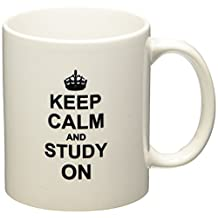 3dRose mug_157775_1 Keep Calm and Study on Carry on Studying College School Or University Student Funny Humor Gifts Ceramic Mug, 11-Ounce