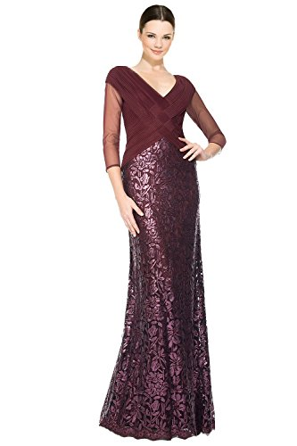 Tadashi Shoji Ruched Tulle Woven Bodice 3/4 Sleeve Evening Gown Dress
