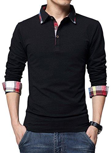 XTAPAN Men's Casual Long Sleeve Slim Fit Polo Cotton T Shirt US M=Asian 2XL 1409 Black