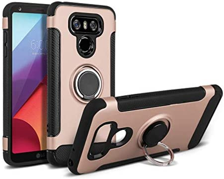 Rose Gold Case for LG G6 Anyos Car Magnetic Kickstand 360 Degree Ring Holder Protection Cover Compatible with LG G6