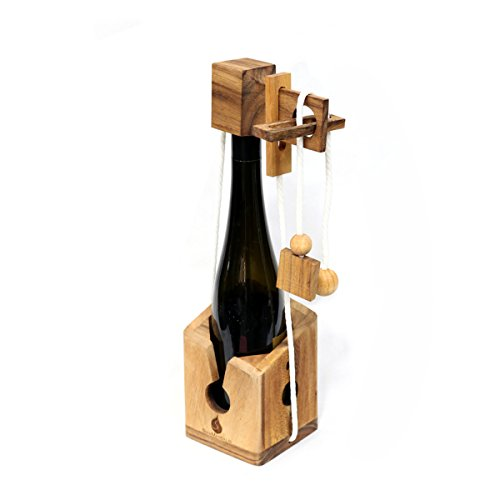 Wine Challenge: Handmade & Organic Traditional Wood Game for Adults from SiamMandalay with Free SM Gift Box(Pictured)(Bottle Not Included) (Corporate Wine Gifts)