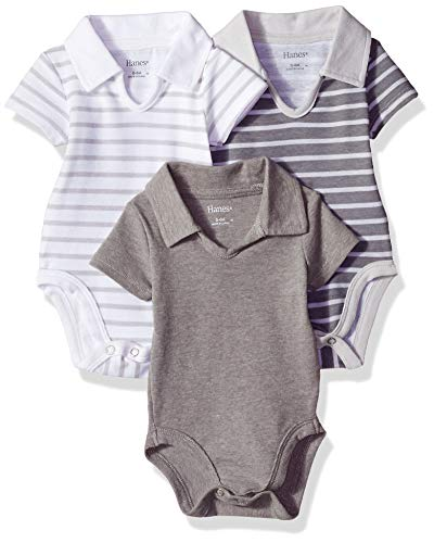 Hanes Ultimate Baby Flexy 3 Pack Short Sleeve Polo Bodysuits, Grey Stripe, 0-6 Months