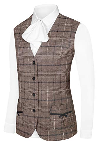 (Hanayome Women's Formal Casual Vest Four Buttons Fully Lined Plaid Waistcoat with Special Design Pocket Brown MI48/M)