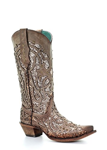 Corral Women's Luminary Glitter Inlay Studs Snip Toe Leather Cowgirl Boots - Orix (10 B(M) US, Brown)