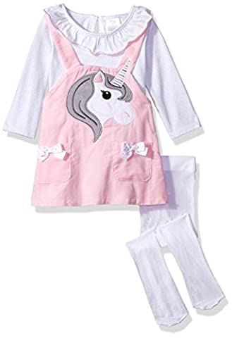 Youngland Baby Girls' 3 Pc Set, Corduroy Face Jumper Dress, Onsie and Tights, Pink/White, 12M - Corduroy Jumper Dress Set
