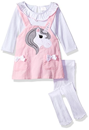 Youngland Baby Girls' 3 Pc Set, Corduroy Face Jumper Dress, Onsie and Tights, Pink/White, 3-6 Months ()