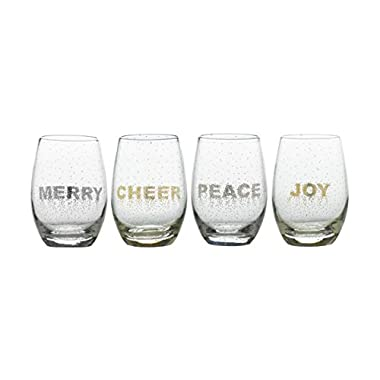 Mikasa Cheers Confetti Stemless Wine Glass, 16.75-Ounce, Set of 4