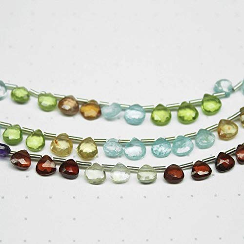 Beads Bazar Natural Beautiful jewellery Natural Multi Stones Faceted Heart Drop Briolette Gemstone Craft Loose Beads Strand 8
