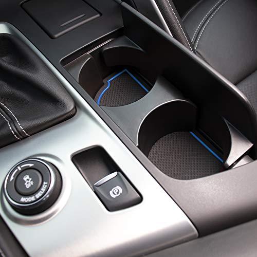 Custom Fit Cup, Door, Console Liner Kit for Chevy C7 Corvette 2019 2018 2017 2016 2015 2014 (Blue Trim)