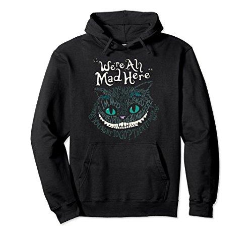 Unisex Alice Cheshire Face Cat We're All Mad Here Wonderland Hoodie Medium Black ()