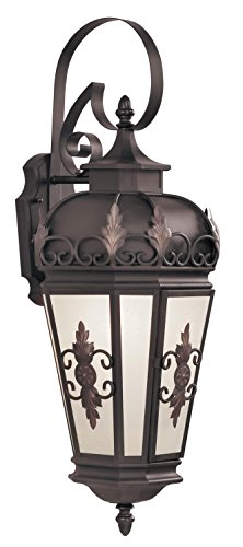 Livex Lighting 2193-07 Outdoor Wall Lantern with Antique Honey Linen Glass Shades, Bronze