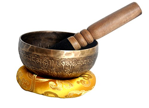"UPC 616913946870, 4"" Mantra Carved Buddha Tibetan Singing Bowl, Hand Hammered Nepal Yoga Singing Bowls with Cushion & Mallet Striker"