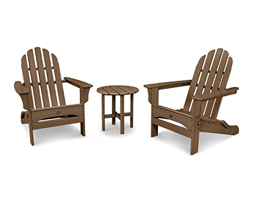 Trex Outdoor Furniture Cape Cod Folding Adirondack Set with Side Table in Tree House