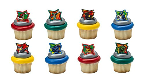 POWER Rangers DINO CHARGE 24ct Cake CUPCAKE RINGS Party FAVOR Toppers Decoration