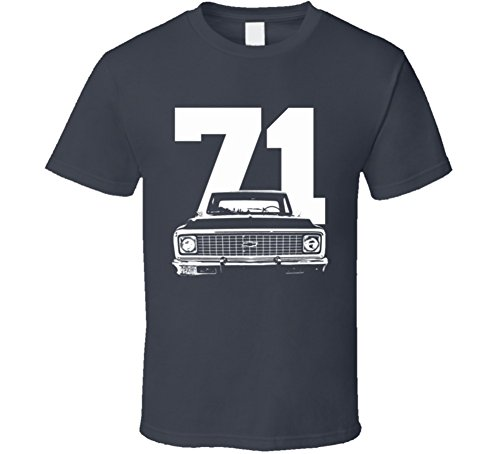 CarGeekTees.com 1971 C10 K10 Pickup Grill View with Year Charcoal T Shirt XL Charcoal Grey