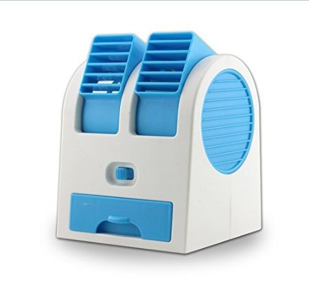 2015 New Double Layer USB Mini Air Conditioning Blade-less Fan Portable Mini-air Conditioner Perfect for Outdoor office Runs On Batteries Or USB (Blue)