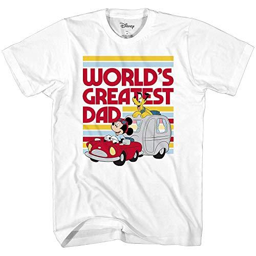 Disney Mickey Mouse World's Greatest Dad Disneyland Graphic Adult T-Shirt(White,XXXL)