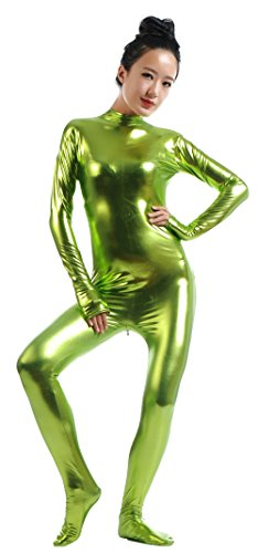 - 41deU8nFrwL - Ensnovo Womens Shiny Metallic Zentai Suit Wetlook Spandex Turtleneck Unitard