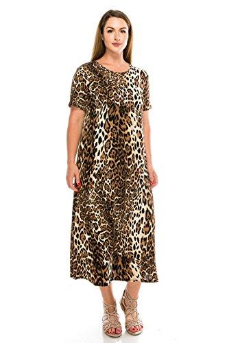 Jostar Women's Stretchy Long Dress Short Sleeve Print Medium Brown Animal]()