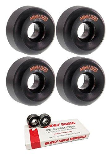 理論少なくとも後51 mm Miniロゴa-cutスケートボードWheels with Bones Bearings – 8 mm Bones Swiss Skateboard Bearings – 2アイテムのバンドル