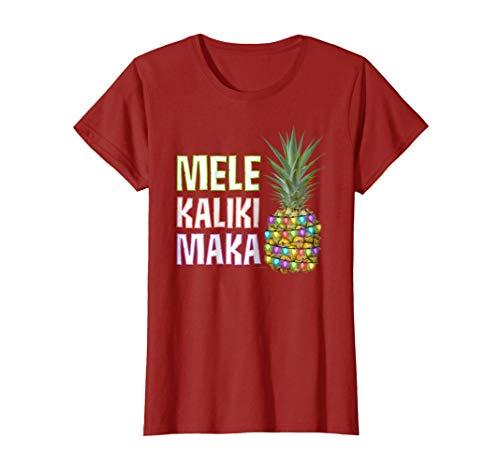 Hawaiian Christmas TShirt - MELE KALIKIMAKA Xmas Pineapple