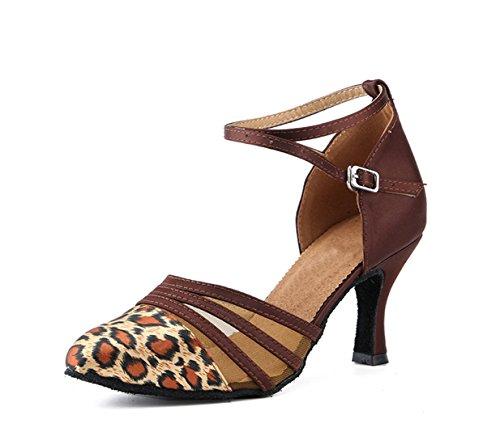 Miyoopark Womens Cinturino Alla Caviglia Con Cinturino Alla Caviglia In Satin Satin E Tacchi Marrone-7,5cm