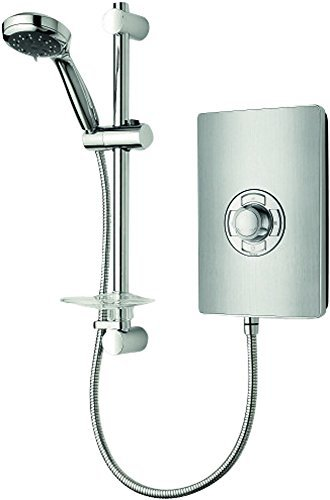 Triton Electric Showers - Triton Aspirante Brushed Steel Effect 9.5kW Electric Shower With 5 Spray Rub Clean Showerhead by Triton